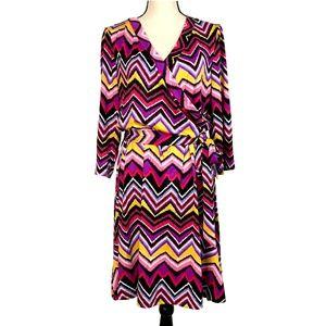 Snap Multi Color Pink Chevron Print Dress